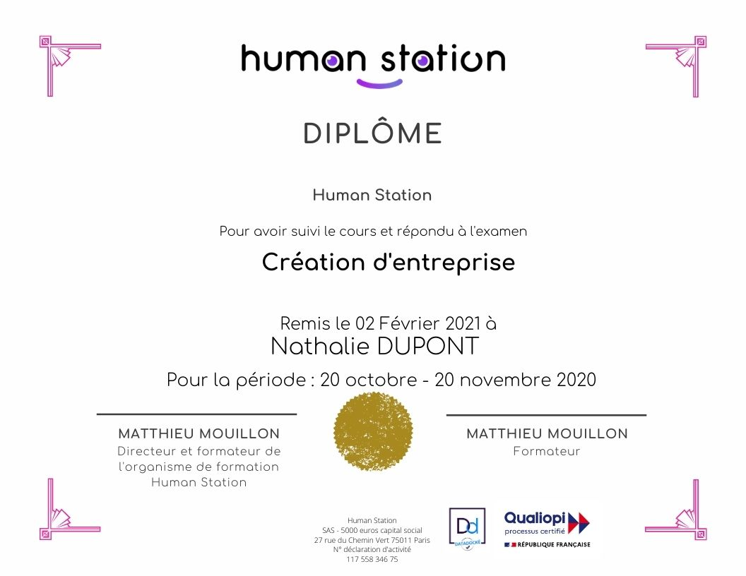 Copie Certificat Human Station
